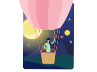 Girl on hot air balloon