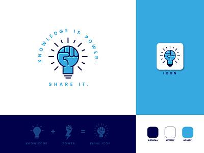 Knowledge is Power. Share it. trendy logo logo design icon logo light bulb logo fist logo fist with light bulb logo flat logo modern logo minimal logo min minimalist logo logo