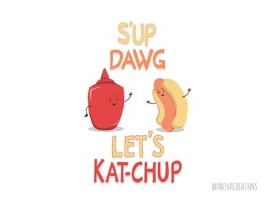 Good Old Friends graphic hot dog food humor puns cute art design cartoons illustration funny cute