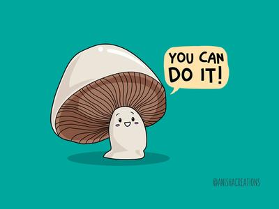 SUPPORTobello support positive motivation humor character kawaii cartoons illustration graphic funny mushroom design art puns cute