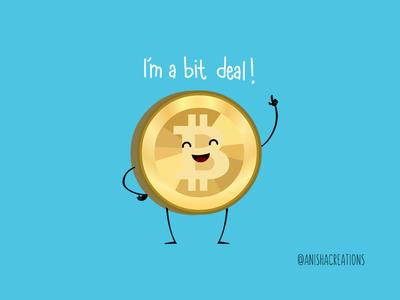 Bit Deal humor cartoons design digital economy crypto geek cryptocurrency funny illustration cute art bitcoin money puns kawaii cute