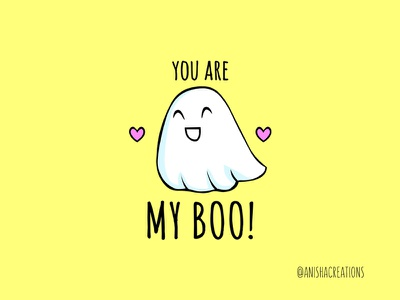 My Boo ghosts punny boo haunted halloween love ghosting ghostbusters ghost humor character puns cute art kawaii design cartoons illustration funny cute