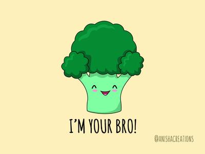 Best Bro art geek illustration doodles adorable humor cartoons cute art broccoli design motivation fitness veggies vegan foodie food funny puns kawaii cute