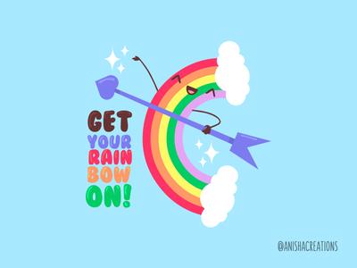 Rain Bow kawaii positivity gay love happy colorful bow puns character design illustration pride rainbow cute art cartoons funny cute