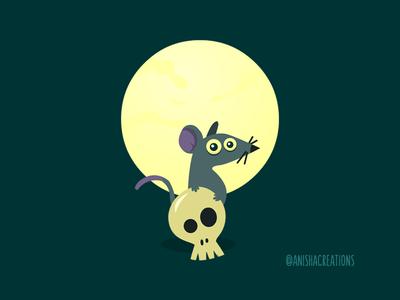 Moon-Rat Shadow midnight mouse light moon skull halloween rat animals character cute art kawaii design cartoons illustration funny cute