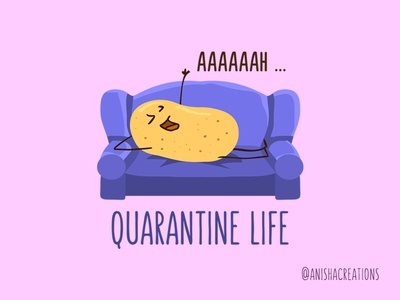 Quarantine Queen geek couch potato character comedy humor doodles sunday chill relax lazy puns food quarantine kawaii design cartoons illustration funny cute