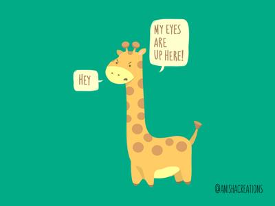 Giraffe Problems adorable eyes mood character tall giraffe animals humor cute art kawaii design cartoons illustration funny cute