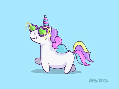 Fabulous Unicorn positive art drawing mystical doodle horse character diva fashion fabulous magic unicorn fantasy animals kawaii design cartoons illustration funny cute