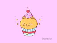 Cat Cake quarantine caturday kitty cat birthday cake cupcake animals food puns cute art kawaii design cartoons funny illustration cute