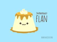 Biggest Flan foodie influencers followers dessert flan food humor puns character cute art kawaii design cartoons funny illustration cute