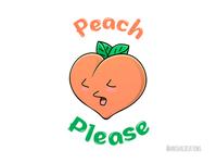 Peach Please fruit foodie mood graphic peach food humor puns character cute art kawaii design cartoons funny illustration cute