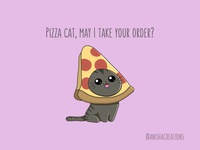 Pizza Cat cats takeout doodle character animals kitty foodie costume freelance work from home delivery pizza food cat kawaii design cartoons funny illustration cute