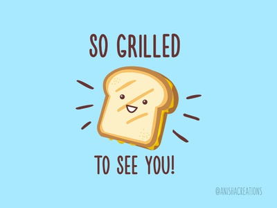 Cheesy Greetings addiction art geek humor cheesy foodie bread character illustration design kawaii grilled sandwich food cheese funny puns cartoons cute