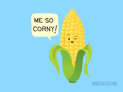 So Corny memes character comic quarantine corn foodie food humor puns cute art kawaii design funny cartoons illustration cute
