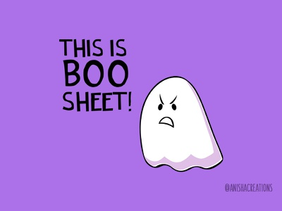 Grumpy Ghost nope comics humor doodle trickortreat memes puns boo ghost halloween cute art kawaii design funny cartoons illustration cute