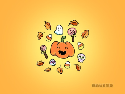 Halloween Doodles pumpkin design autumn doodles halloween design candy corn trick or treat ghost candy halloween cartoons illustration cute
