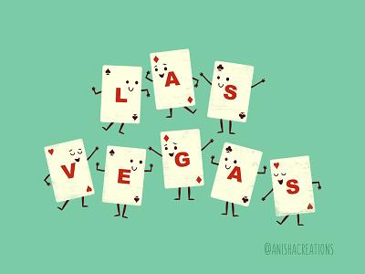 Viva Las Vegas! poker vegas nevada gamble game bet cards souvenir character cute art kawaii design funny cartoons illustration cute
