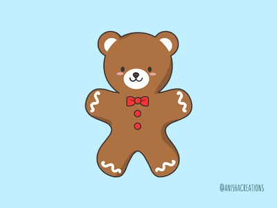 Ginger BEAR Cookie xmas love hugs adorable gingerbread bear holiday design cookies christmas holidays food cute art kawaii design funny cartoons illustration cute