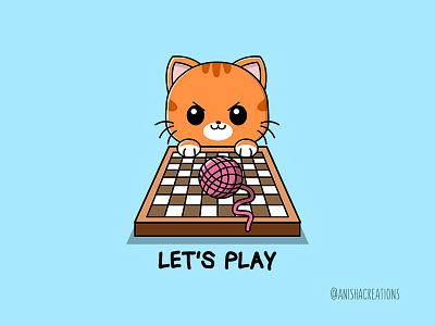 Queen's Catnip orange kitty art geek doodles play game chess animals fanart netflix puns cat kawaii design funny cartoons illustration cute