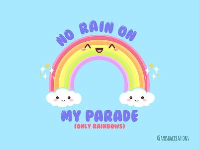Magical Rainbow parade cutenes clouds graphic design adorable motivation positive good vibes rainbow love funny puns character cute art kawaii cute cartoons illustration