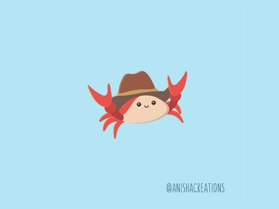 Claw Boi cute animals flatdesign tiny cowboy crab character puns cute art kawaii design funny cartoons illustration cute
