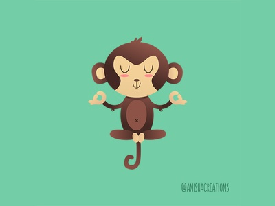 ChimpanZEN graphic relax zen yoga mindset meditation animals monkey humor character cute art puns kawaii design funny cartoons illustration cute