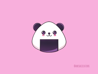 Panda Rice Cake puns foodie japanese cake rice doodles bear panda art food funny cute art character kawaii design cartoons illustration cute