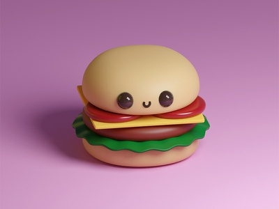 Kawaii Burger 3d modeling burger cute art humor food blender 3d character kawaii funny design cartoons cute