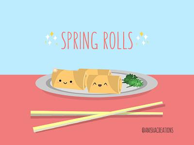 Spring Rolls springtime asian flatdesign foodie yummy rolls spring food puns kawaii funny design cartoons illustration cute