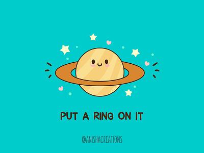 Saturn Ring doodles humor wedding ring art geek saturn space character funny design cartoons illustration kawaii cute