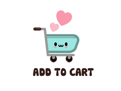 Kawaii Shopping Cart cart adorable mood shopping online amazon character kawaii funny design cartoons illustration cute