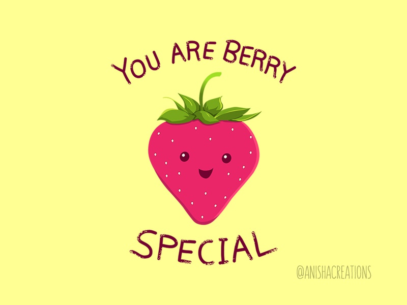 Fruity Truth cute art food cartoons illustration graphic design vector kawaii adorable positive vibes motivation special berry strawberry puns funny art cute