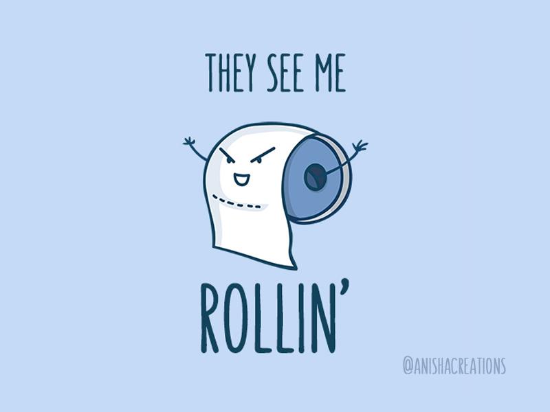 Toilet Humor design memes lol character doodles rolling roll toilet paper toilet humorous illustration cute art vector puns illustration cartoons funny cute