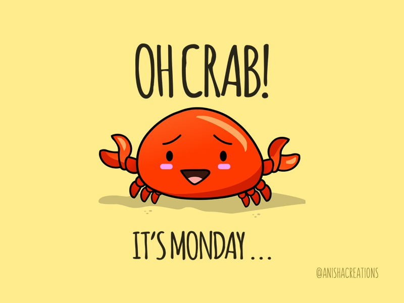 Crabby Day monday crab geek motivation animals humor vector graphic character puns design kawaii illustration cute art cartoons funny cute