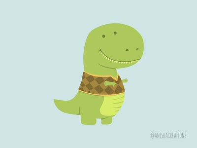 T-Vest fashion dino dinosaur vector humor graphic character puns design kawaii illustration cute art cartoons funny cute