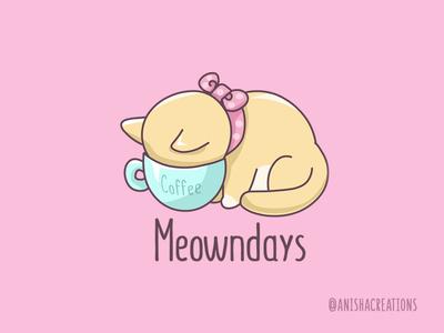 Monday Mood humor cute art adorable kawaii punny puns lol nope kitty illustration mood relatable coffee motivation monday animals cats funny cute