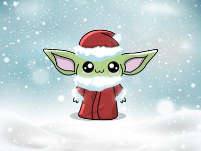 Santa Baby Yoda christmas holidays santa the mandalorian fan art star wars baby yoda vector character design cartoons kawaii illustration cute art funny cute