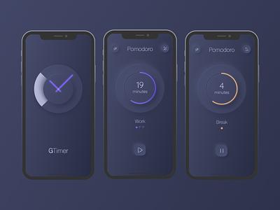 Pomodoro with Neumorphism animation app design mobile ios apple design neon app apple ux ui pomodoro neumorphism design