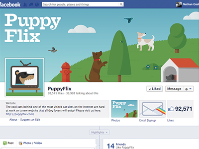 A day at the park illustration facebook design typography flat park animal dog puppy cover photo