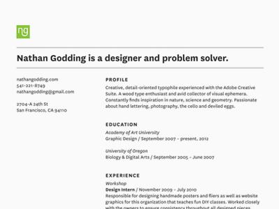 Resume Layout resume typography national design grid