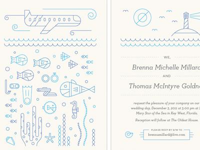 Aquatic Wedding 2 wedding illustration fish coral reef scuba typography lighthouse ocean