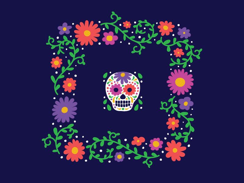 Day of the Dead square flower skull vector illustration shirt