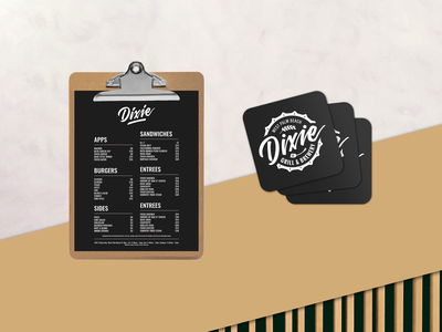 Dixie Grill & Brewery Logo + Coasters