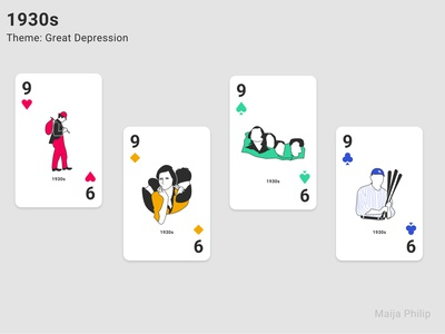 Era Card Deck (9s) playingcards cards design cards ui card playing cards modern illustration history great depression graphic flat era design decade clean cards 1930 1930s