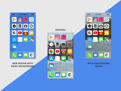 iPhone Home Screen Redesign graphic modern flat design mobile ui ui iphonex iphone mobile home page home screen home redesign concept redesigned redesign