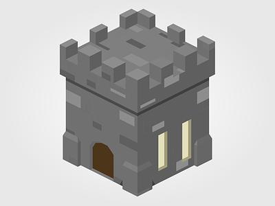 Isometric Castle medieval castle house illustration isometric