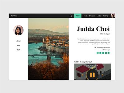 Portfolio Social Media Site Concept web design turquoise blue social media socialmedia ux ui modern flat design web