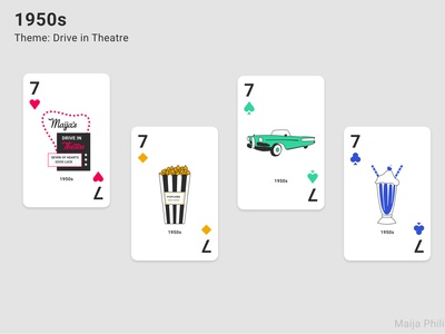 Era Playing Cards (7s) playing card cards playing cards playingcards vector design modern flat illustraion graphics graphic 1950 1950s retro clean era decade