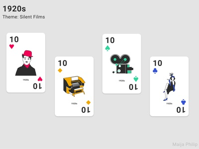 Era Playing Cards (10s) theme silent films vector retro playing cards playingcards playing card modern illustraion graphics graphic lines flat era design decade clean cards 1920s