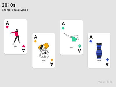 Era Card Deck (Aces) dabbing social media playing cards playingcards playing card modern lines illustration graphics graphic flat era design 2020 2019 decade clean cards 2010s 2010